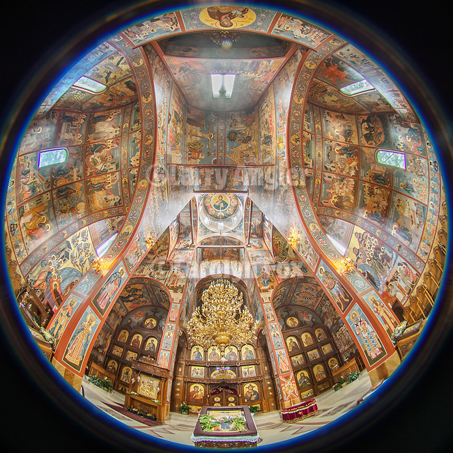 Interior of the Protection of the Most Holy Mother of God  Monastery, (New Gracanica), Third Lake, Illinois<br /> <br /> With the fisheye lens<br /> <br /> <br /> #NGMWADiocese<br /> #GlorificationStMardarije, #Chicago, #PatriarchIrinej, #MetropolitanAmphiloije<br /> #SerbianOrthodoxChurch