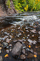 Thre Bad River flows through a gorge in Copper Falls State Park in Ashland County, Wisconsin in early autumn.