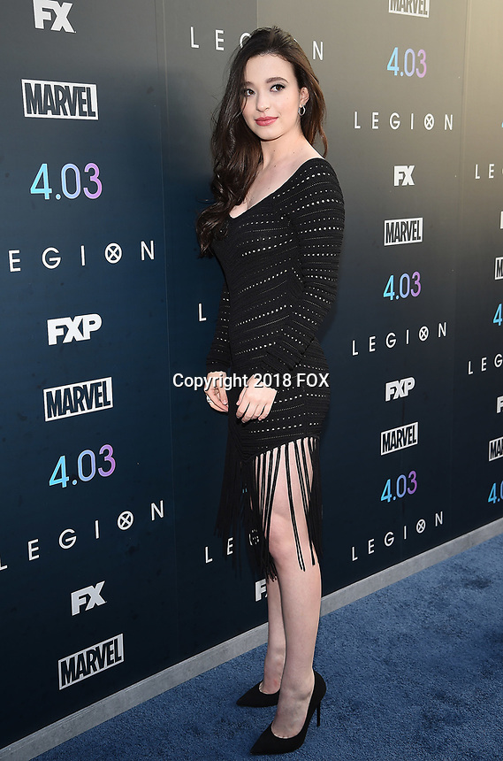 """LOS ANGELES, CA - APRIL 2: Mikey Madison attends the season two premiere of FX's """"Legion"""" at the DGA Theater on April 2, 2018 in Los Angeles, California. (Photo by Frank Micelotta/FX/PictureGroup)"""