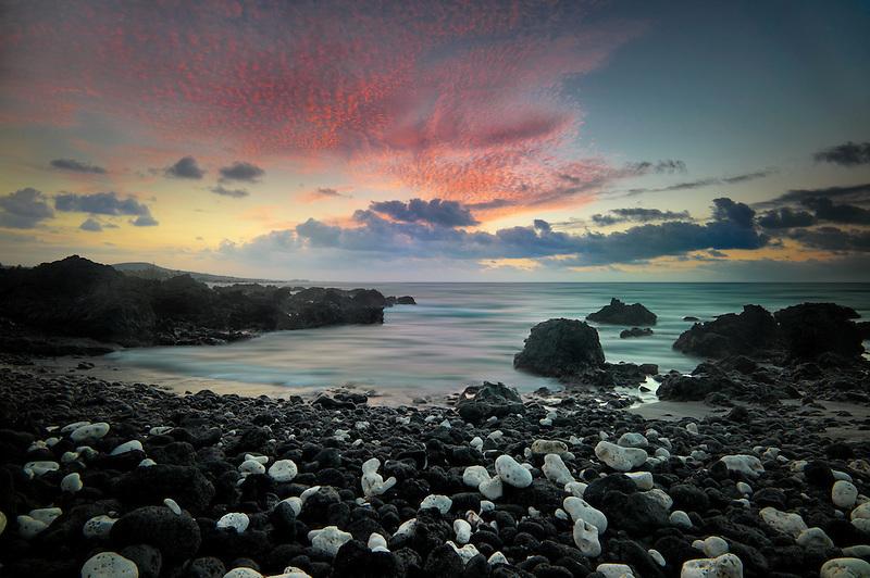 Sunset with white coral beach on the Kohala Coast. Hawaii The Big Island