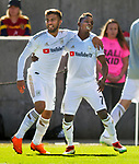Los Angeles FC forward Diego Rossi (9) celebrates his goal with Los Angeles FC forward Latif Blessing (7) against Real Salt Lake in the second half Saturday, March 10, 2018, during the Major League Soccer game at Rio Tiinto Stadium in Sandy, Utah. Blessing scored one goal during the game and Rossi scored two. LAFC beat RSL 5-1. (© 2018 Douglas C. Pizac)