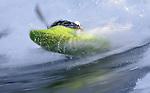 kayaking on Skookumchuck wave in British Columbia with motion blur