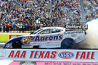 Sept. 22, 2012; Ennis, TX, USA: NHRA funny car driver Matt Hagan during qualifying for the Fall Nationals at the Texas Motorplex. Mandatory Credit: Mark J. Rebilas-