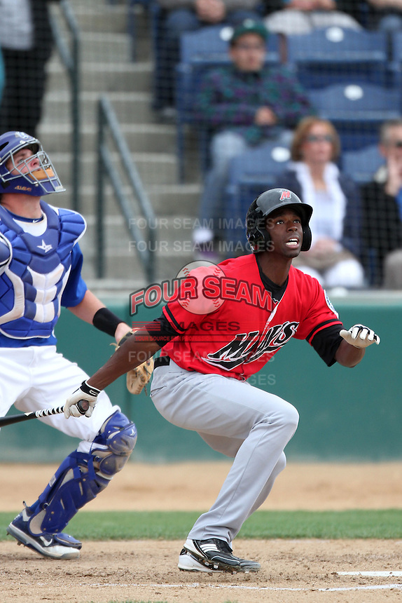 James Jones #28 of the High Desert Mavericks bats against the Rancho Cucamonga Quakes at The Epicenter in Rancho Cucamonga,California on May 8, 2011. Photo by Larry Goren/Four Seam Images