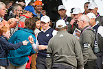 Irishman Rory McIlroy signs autographs for fans as he makes his way to the 7th tee during a practice session at Gleneagles Golf Course, Perthshire. Photo credit should read: Kenny Smith/Press Association Images.