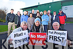 A group of local residents protesting against a mast at Tralee Greyhound stadium on Wednesday in front are Tim Corkery Josephine Dore and Fr Patsy Lynch.