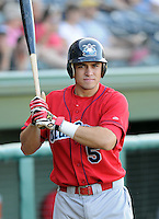 July 29, 2009: Travis D'Arnaud of the Lakewood BlueClaws, Class A affiliate of the Philadelphia Phillies, in a game at Fluor Field at the West End in Greenville, S.C. Photo by: Tom Priddy/Four Seam Images