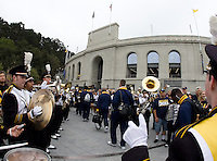 CAL Band performs while CAL football players walk into Memorial Stadium before the game against Nevada at Memorial Stadium in Berkeley, California on September 1st, 2012.  Nevada Wolf Pack defeated California, 31-24.