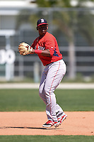 Boston Red Sox Rafael Devers (12) during practice before a minor league spring training game against the Baltimore Orioles on March 20, 2015 at Buck O'Neil Complex in Sarasota, Florida.  (Mike Janes/Four Seam Images)