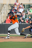 Lucius Fox (1) of the Augusta GreenJackets follows through on his swing against the Kannapolis Intimidators at Intimidators Stadium on May 30, 2016 in Kannapolis, North Carolina.  The GreenJackets defeated the Intimidators 5-3.  (Brian Westerholt/Four Seam Images)