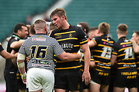Tony Whittle of Cornwall commiserates Brendan Berry of Cheshire. Bill Beaumont County Championship Division 1 Final between Cheshire and Cornwall on June 2, 2019 at Twickenham Stadium in London, England. Photo by: Patrick Khachfe / Onside Images