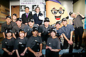 (L to R) Shusaku Higaki President of Asrapport Dining Co., Ltd., Melissa Lora, President of Taco Bell International and the restaurant's mascot character pose for the cameras with the staff during the pre-opening event for their first Japanese store located in Tokyo's Shibuya district, on April 20, 2015, Japan. The store includes Japan specific dishes like shrimp and avocado burrito and taco rice on its menu. It will open to the public on April 21st. The American Tex-Mex fast food restaurant has signed a franchise agreement with Asrapport Dining Co., Ltd. to operate Taco Bell branches in Japan. (Photo by Rodrigo Reyes Marin/AFLO)