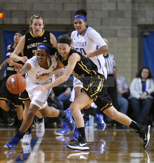 Kevin Goodin-Roders (5) steals the ball during the second half of the women UK hoops vs. Northern Kentucky University at Memorial Coliseum. Wednesday, December 3, 2014 in Lexington. Photo by Joel Repoley | Staff