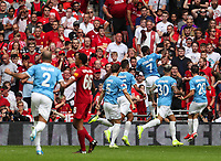 Raheem Sterling of Manchester City celebrates after opening the scoring during the FA Community Shield match between Liverpool and Manchester City at Wembley Stadium on August 4th 2019 in London, England. (Photo by John Rainford/phcimages.com)<br /> Foto PHC/Insidefoto <br /> ITALY ONLY