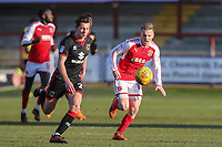 Callum Brittain of MK Dons and George Glendon of Fleetwood Town during the Sky Bet League 1 match between Fleetwood Town and MK Dons at Highbury Stadium, Fleetwood, England on 24 February 2018. Photo by David Horn / PRiME Media Images