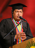El Presidente de Venezuela Hugo Chavez durante la ceremonia de graduacion del instituto universitario militar en Caracas. *Venezuelan President Hugo Chavez during the graduation ceremony of the Army Universitary Institute in Caracas