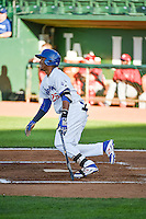Michael Medina (25) of the Ogden Raptors at bat against the Orem Owlz in Pioneer League action at Lindquist Field on June 18, 2015 in Ogden, Utah. This was Opening Night play of the 2015 Pioneer League season.  (Stephen Smith/Four Seam Images)