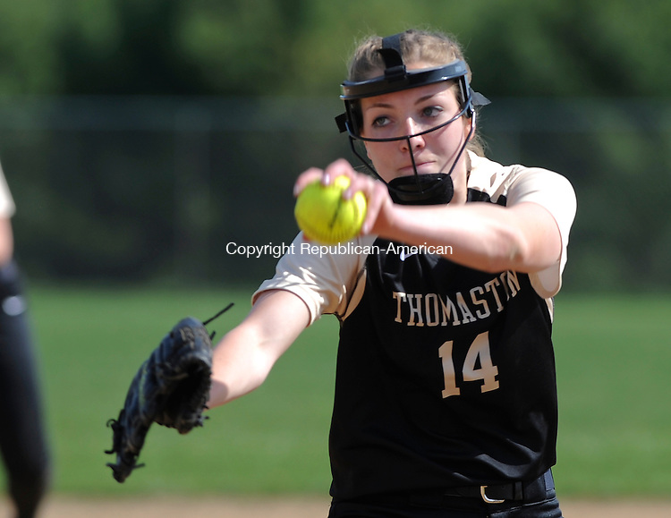 BURLINGTON, CT-051314JS02--Thoaston's Morgan Sanson (14) delivers a pitch during their game against Lewis Mills Monday at Lewis Mills High School in Burlington.<br />  Jim Shannon Republican-American