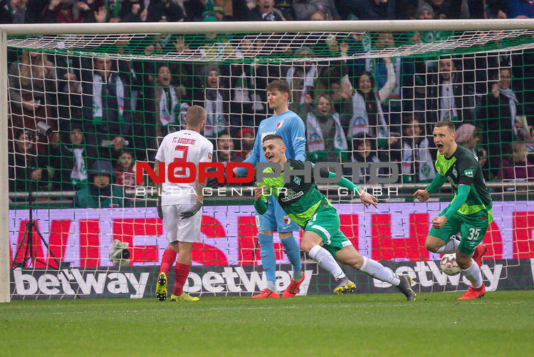 10.02.2019, Weser Stadion, Bremen, GER, 1.FBL, Werder Bremen vs FC Augsburg, <br /> <br /> DFL REGULATIONS PROHIBIT ANY USE OF PHOTOGRAPHS AS IMAGE SEQUENCES AND/OR QUASI-VIDEO.<br /> <br />  im Bild<br /> <br /> 1:0 Milot Rashica (Werder Bremen #11) gegen Gregor Kobel (FC Augsburg #40)<br /> Konstantinos Stafylidis (FC Augsburg #03)<br /> Rani Khedira (FC Augsburg #08)<br /> <br /> jubel <br /> Foto © nordphoto / Kokenge