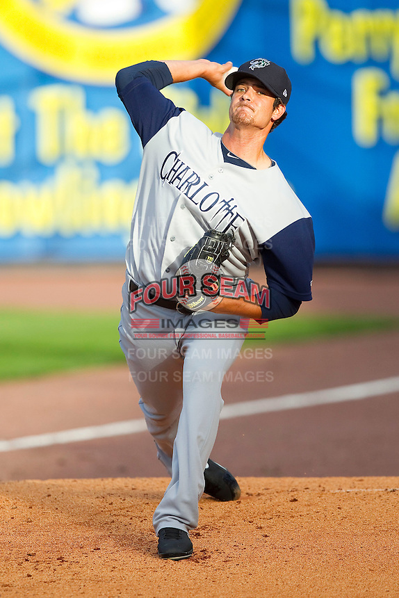 Charlotte Knights starting pitcher Andre Rienzo (25) warms up in the bullpen prior to the game against the Toledo Mudhens at 5/3 Field on May 3, 2013 in Toledo, Ohio.  The Knights defeated the Mudhens 10-2.  (Brian Westerholt/Four Seam Images)