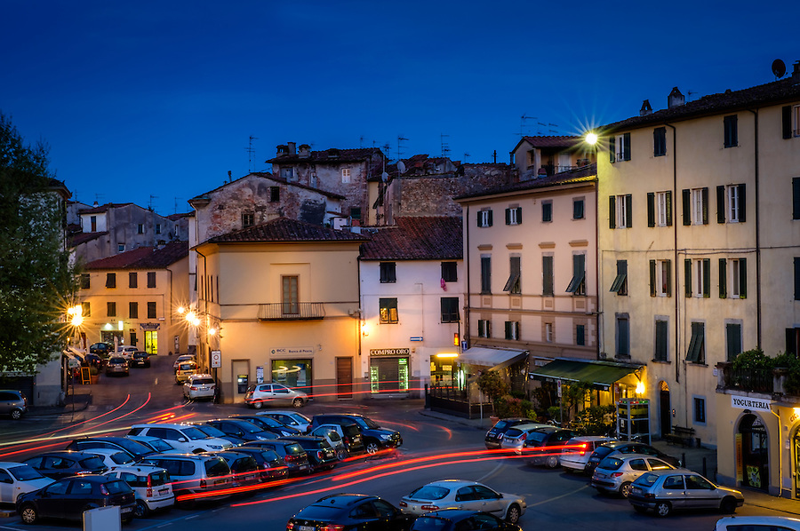LUCCA ITALY - CIRCA MAY 2015:  Walled city of Lucca at night, an historic town in Tuscany
