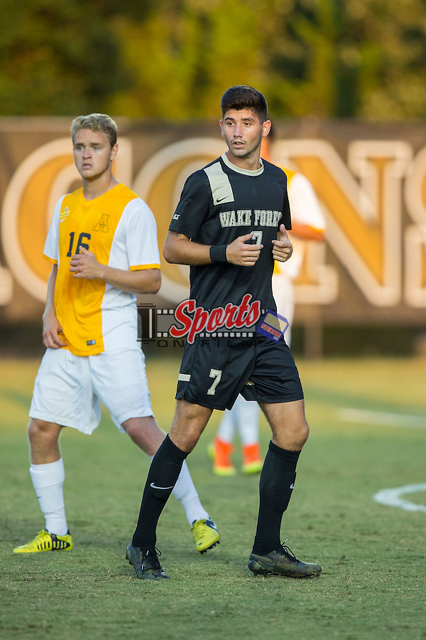 Jon Bakero (7) of the Wake Forest Demon Deacons during first half action against the Appalachian State Mountaineers at Spry Soccer Stadium on September 6, 2016 in Winston-Salem, North Carolina.  The Demon Deacons defeated the Mountaineers 3-0.   (Brian Westerholt/Sports On Film)