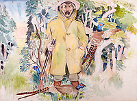BNPS.co.uk (01202 558833)<br /> Pic: GSpencerEstate/LissLlewellyn<br /> <br /> 'Dawn Patrol - the converted poacher'<br /> <br /> Never-before-seen paintings depicting the humourous side of the Home Guard that were censored for being too offensive have come to light nearly 80 years later.<br /> <br /> The light-hearted works were produced by the artist Gilbert Spencer more than 25 years before Dad's Army appeared on TV to huge acclaim. <br /> <br /> But Spencer's witty take on life in the Home Guard wasn't quite so well received during the darkest days of the Second World War.<br /> <br /> Spencer was too old to enlist in the army and so joined the Home Guard. In wanting to do his bit he produced 14 paintings based on his amusing observations of the citizen militia that were aimed at cheering up the nation.