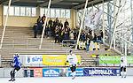 Uppsala 2015-02-28 Bandy Elitseriekval IK Sirius - Gripen Trollh&auml;ttan BK :  <br /> Vy &ouml;ver Studenternas IP med Gripen Trollh&auml;ttans supportrar p&aring; huvudl&auml;ktaren under matchen mellan IK Sirius och Gripen Trollh&auml;ttan BK <br /> (Foto: Kenta J&ouml;nsson) Nyckelord:  Bandy Elitserien Elitseriekval Kval Kvalserien Uppsala Studenternas IP IK Sirius IKS Gripen Trollh&auml;ttan utomhus exteri&ouml;r exterior supporter fans publik supporters