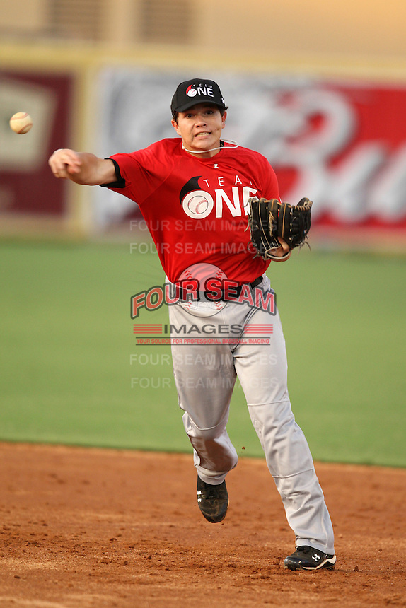 Second Baseman/Catcher Mac Seibert (5) of Tate High School participates in the Team One Futures Game East at Roger Dean Stadium in Jupiter, Florida September 25, 2010..  Photo By Mike Janes/Four Seam Images