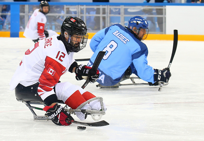 Pyeongchang, Korea, 11/3/2018-Greg Westlake of Canada plays Italy in hockey during the 2018 Paralympic Games in PyeongChang. Photo Scott Grant/Canadian Paralympic Committee.