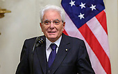 President Sergio Mattarella of the Italian Republic makes remarks as he and United States President Donald J. Trump and conduct a joint press conference in the East Room of the White House in Washington, DC on Wednesday, October 16, 2019.<br /> Credit: Ron Sachs / CNP