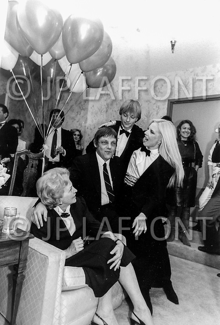 Las Vegas, Nevada, USA, December, 1982 - French Singer Sylvie Vartan with her mother, brother Eddie, and son David at a party while between performances at the MGM Hotel in Las Vegas.