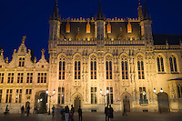 Belgium, Bruges, City Hall on the Burg, or Town Hall Square, at night