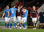 St Johnstone v Hearts..19.12.15  SPFL  McDiarmid Park, Perth<br /> Juanma Delgado Lloria headbuts David Wotherspoon<br /> Picture by Graeme Hart.<br /> Copyright Perthshire Picture Agency<br /> Tel: 01738 623350  Mobile: 07990 594431