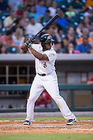 Jason Bourgeois (8) of the Charlotte Knights at bat against the Lehigh Valley Iron Pigs at BB&T BallPark on June 3, 2016 in Charlotte, North Carolina.  The Iron Pigs defeated the Knights 6-4.  (Brian Westerholt/Four Seam Images)