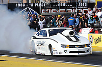 Feb. 22, 2013; Chandler, AZ, USA; NHRA pro stock driver Shane Gray during qualifying for the Arizona Nationals at Firebird International Raceway. Mandatory Credit: Mark J. Rebilas-