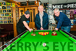 Pool Tournament: Mike the Pie's Bar, Listowel  tournament director Liam Browne, centre pictured at the final of the bar's pool tournament on Sunday night last with finalists Declan O'Connell & Kenneth Sweeney, winner.