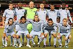 22 October 2011: Kansas City's starters. Front row (l to r) Graham Zusi, Roger Espinoza (HON), Chance Myers, Omar Bravo (MEX), Seth Sinovic. Back row (l to r): Matt Besler, Julio Cesar (BRA), Jimmy Nielsen (DEN), Aurelien Collin (FRA), Teal Bunbury, Kei Kamara (SLE). Sporting Kansas City defeated DC United 1-0 at RFK Stadium in Washington, DC in a 2011 regular season Major League Soccer game.