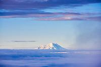 Chimborazo Volcano 6,268m summit, seen from 5,897m Cotopaxi Volcano summit, Cotopaxi Province, Ecuador