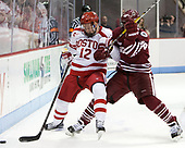 Chase Phelps (BU - 12), Jake McLaughlin (UMass - 28) - The Boston University Terriers defeated the University of Massachusetts Minutemen 3-1 on Friday, February 3, 2017, at Agganis Arena in Boston, Massachusetts.The Boston University Terriers defeated the visiting University of Massachusetts Amherst Minutemen 3-1 on Friday, February 3, 2017, at Agganis Arena in Boston, MA.