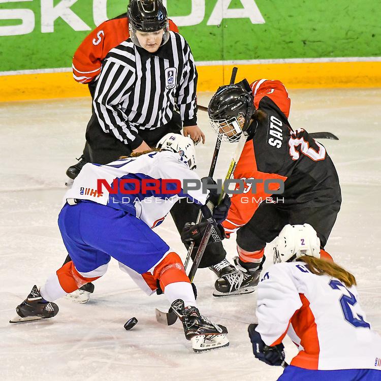 03.01.2020, BLZ Arena, Füssen / Fuessen, GER, IIHF Ice Hockey U18 Women's World Championship DIV I Group A, <br /> Frankreich (FRA) vs Japan (JPN), <br /> im Bild Lucie Turcotte (FRA, #14), Airi Sato (JPN, #23)<br /> <br /> Foto © nordphoto / Hafner