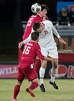 COLLEGE PARK, MD - NOVEMBER 15: Daniel Munie #5 of Indiana and Eric Matzelevich #15 of Maryland go up for a header during a game between Indiana University and University of Maryland at Ludwig Field on November 15, 2019 in College Park, Maryland.