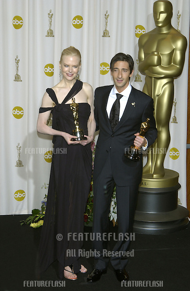 ADRIEN BRODY & NICOLE KIDMAN at the 75th Academy Awards at the Kodak Theatre, Hollywood, California..March 23, 2003.