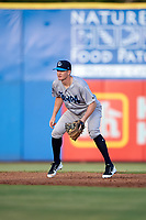 Tampa Tarpons shortstop Kyle Holder (8) during a game against the Dunedin Blue Jays on June 2, 2018 at Dunedin Stadium in Dunedin, Florida.  Dunedin defeated Tampa 4-0.  (Mike Janes/Four Seam Images)