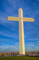Groom Texas is the site of the the largest free standing cross in the western hemisphere, located along interstate 40 in Groom Texas.  The cross was erected in 1995, and is 19 stories, or 190 feet tall.  The giant cross can be seen from as far as 25 miles away and seen by millions of motorists every year.  Around the base of the cross are life size sculptors depiction the 12 stations of the croos.