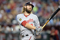 Washington Nationals outfielder Jayson Werth (28) reacts to a swing and miss during a game against the Arizona Diamondbacks at Chase Field on September 28, 2013 in Phoenix, Arizona.  Washington defeated Arizona 2-0.  (Mike Janes/Four Seam Images)