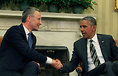 United States President Barack Obama, right, shakes hands with NATO Secretary-General Jens Stoltenberg as they meet in the Oval Office of the White House in Washington, D.C. on Tuesday, May 26, 2015 <br /> Credit: Dennis Brack / Pool via CNP