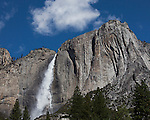 """Yosemite Falls Waterfall 4""  Yosemite National Park, California. I spent two weeks in the Spring of 2013 climbing up the opposite canyon's wall in order to get an angle that captured all three sections of the waterfall as seen in ""Yosemite Falls Waterfall"". I learned on the Yosemite National Park's website that no one had a photograph of the middle section of the waterfall.  Their description of the middle section is ""often ignored middle section""  All other photographers only have photographs showing an angle that has the upper and lower sections in view.  I had to climb down and return moving further up the canyon to get an angle to see directly into the middle section."