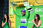 Fernando Gaviria (COL) Quick-Step Floors wins Stage 1 and takes the first sprints Green Jersey of the 2018 Tour de France running 201km from Noirmoutier-en-l&rsquo;&Icirc;le to Fontenay-le-Comte, France. 7th July 2018. <br /> Picture: ASO/Alex Broadway | Cyclefile<br /> All photos usage must carry mandatory copyright credit (&copy; Cyclefile | ASO/Alex Broadway)