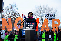 United States Representative Ilhan Omar (Democrat of Minnesota) speaks to demonstrators outside the United States Capitol in Washington D.C., U.S., on Thursday, January 9, 2020, to oppose a war with Iran as the United States House of Representatives convenes to vote on a war powers resolution that would mandate United States President Donald J. Trump receive congressional authorization for any future military action taken toward Iran.<br /> <br /> Credit: Stefani Reynolds / CNP/AdMedia